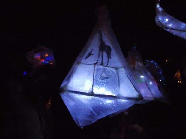 single lantern with raindrops